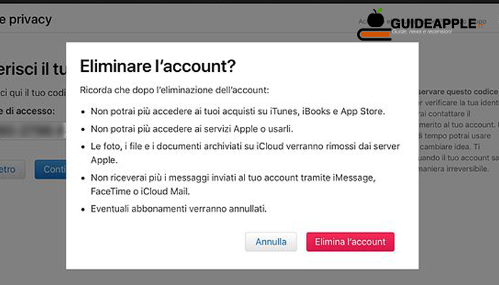 Come eliminare account Apple temporaneamente o definitivamente
