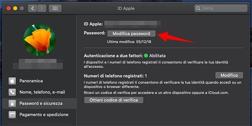 recupero passoword id apple da mac