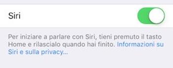Disattivare Siri su iPhone 8