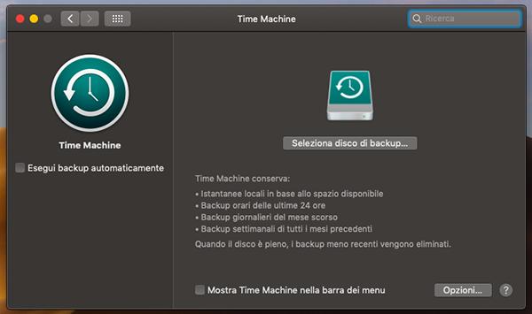 come effettuare backup con time machine