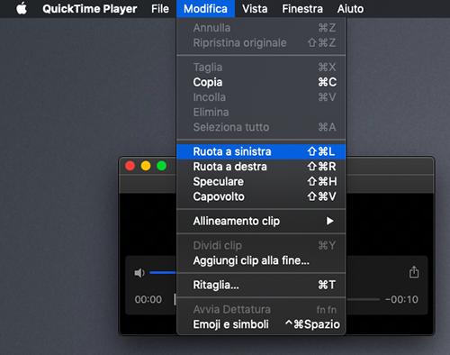 ruotare video Mac con quicktime