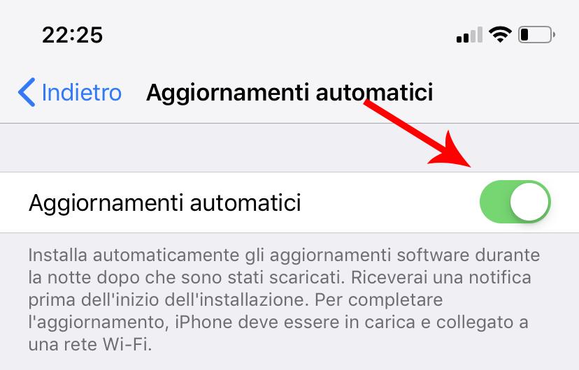 aggiornamenti automatici iphone