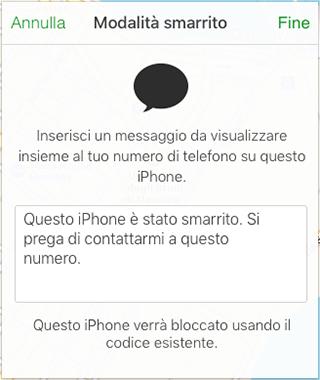 come attivare modalità smarrito iphone