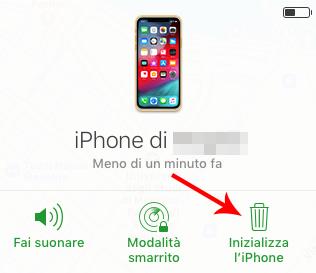 inizializza iphone da icloud