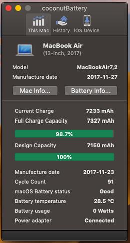 stato batteria e cicli di carica mac e iphone