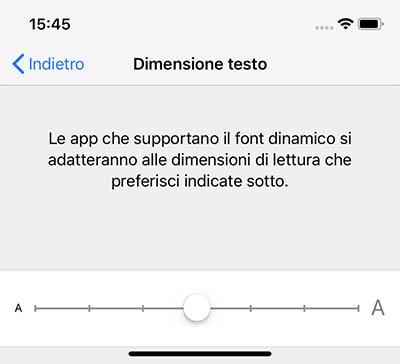 ingrandire testo iPhone e ipad