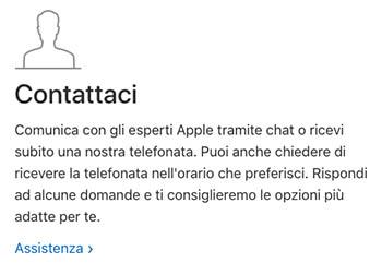 parlare con operatore Apple per telefono
