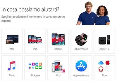 parlare con operatore Apple via chat