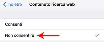 bloccare contenuto ricerche web iphone