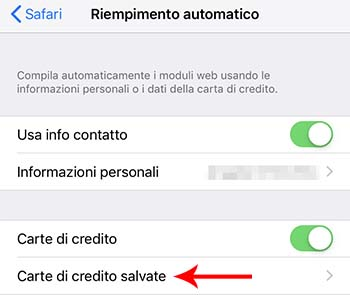 carte di credito salvate iphone