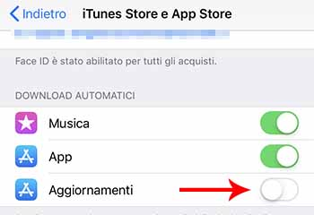 disattivare aggiornamenti automatici app