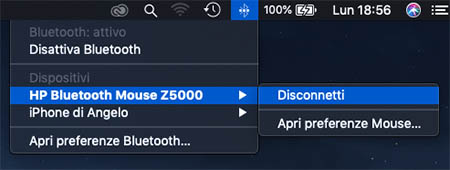 disconettere dispositivo bluetooth mac
