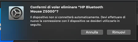 dissociare dispositivo bluetooth mac