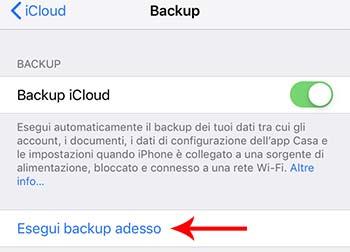 eseguire backup prima di vendere iphone