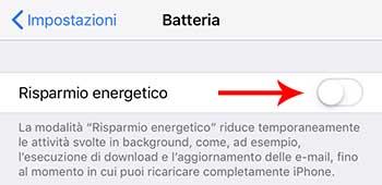 iphone attivare rispario energia