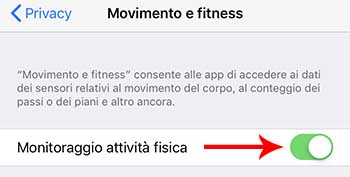 monitoraggio attività fisica -risparmio batteria iphone