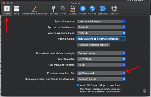 posizione download file safari