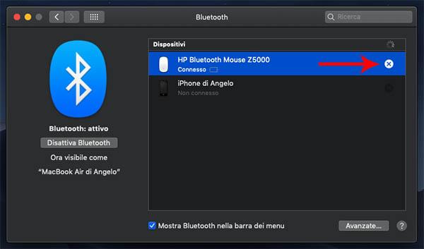 rimuovere dispositivo bluetooth mac