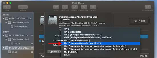 codifica pendrive utility disco