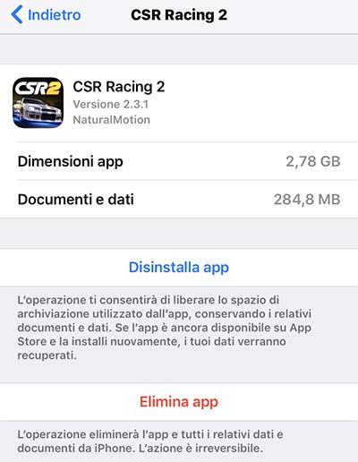 eliminare app per liberare spazio iphone