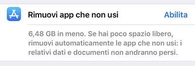 liberare spazio iphone - rimuovi app che non usi