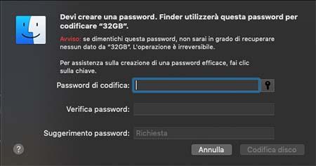 proteggere pendrive con password sul mac