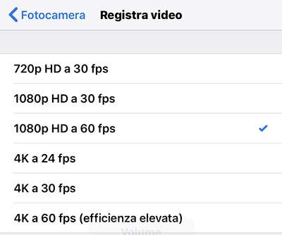 spazio iphone - risoluzione video