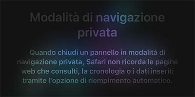 abilitare navigazione privata Safari