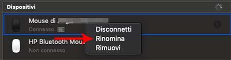 cambiare nome al mouse su mac