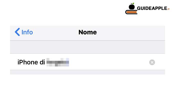 Come cambiare nome iPhone