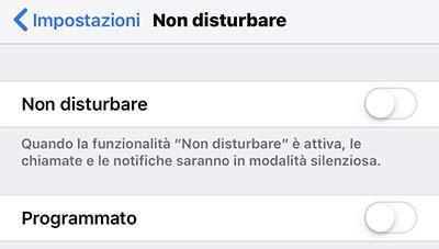 configurare non disturbare iphone