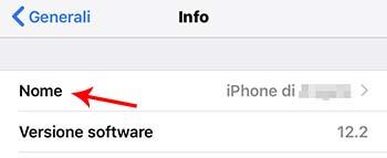 modificare nome iphone