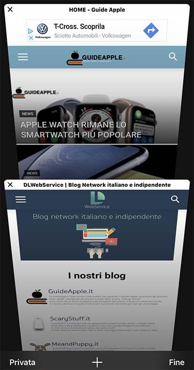 navigazione privata safari su iPhone e ipad