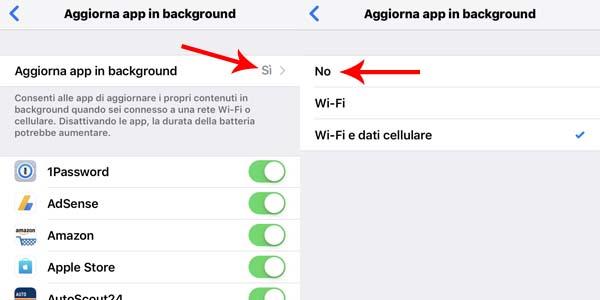 ridurre consumo giga - aggiornamento app in backgroung