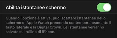 abilitare screenshot apple watch