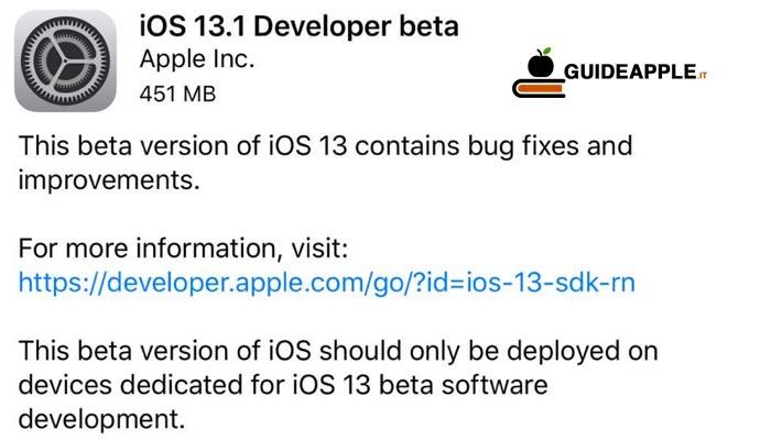Apple rilascia iOS 13.1 beta per gli sviluppatori