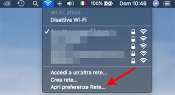 rimuovere una rete Wi-Fi dal Mac