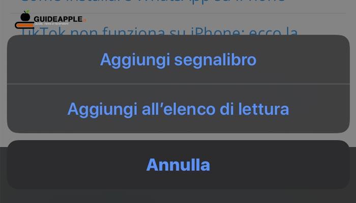 Come aggiungere segnalibro Safari su iPhone