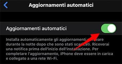 come abilitare Aggiornamenti automatici iPhone