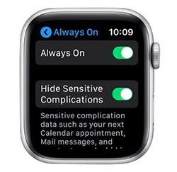 diabilitare schemo sempre attivo apple watch
