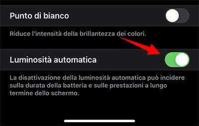 Come disattivare la luminosità automatica su iPhone