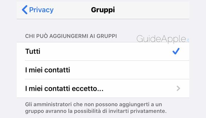 Come impedire di essere aggiunto ai gruppi WhatsApp su iPhone e iPad