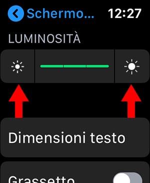 luminosità schermo apple watch