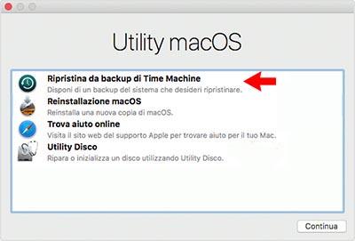 ripristinare da backup di time machine