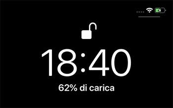 schermata blocco percentuale batteria iphone