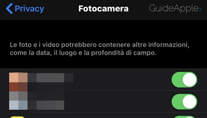 Disabilitare accesso alla fotocamera alle app su iPhone e iPad