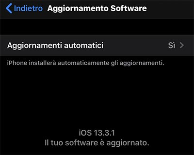 aggiornamento iphone ota