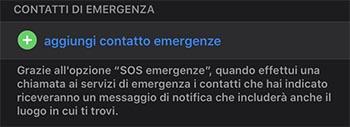 aggiungere contatto emergenze iPhone