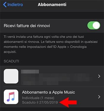 apple music abbonamento scaduto