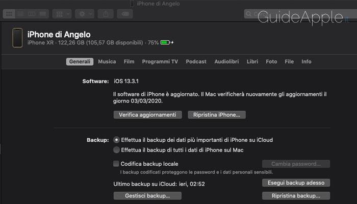 Come eseguire il backup iPhone tramite il Finder